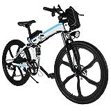 AMDirect Bicicleta de Montaña Eléctrica Plegable 26 Pulgadas Batería de Litio 36V 250W 21...